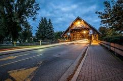 Abgedeckte Brücke in Frankenmuth Michigan Stockbilder