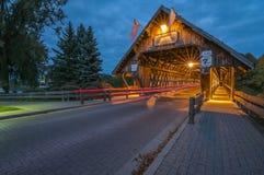 Abgedeckte Brücke in Frankenmuth Michigan Stockfotos