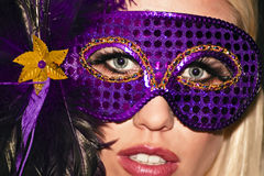 Abgedecktes Karneval-Maskerade-Party-Mädchen Stockfotos