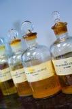 Abgefüllte Laborchemikalien Stockbilder