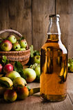 Abgefüllter Zider mit Äpfeln Stockfotografie
