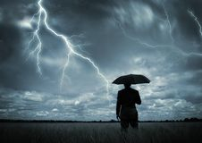 Abgefangen im Sturm stockfoto