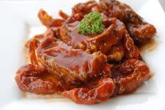 Abgefeuerte Baby Krabbe beigemischte BBQ-Soße Lizenzfreie Stockbilder