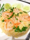 Abgefeuerter Reis mit Garnele Lizenzfreie Stockfotos