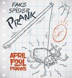 Abgehobener Betrag des gefälschten Spinnen-Streichs bereit zu April Fools-` Tag, Vektor-Illustration Lizenzfreie Stockfotografie