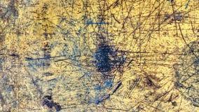 Abgenutzter gemalter gelber Artschmutz der Stahlplatte stockbild