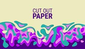 Abgeschnittene gewellte Blätter Papier Helle bunte Vektorschichten abstraktes 3D Reliefbild lizenzfreie abbildung