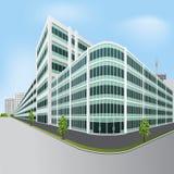 Abgetrenntes Bürogebäude mit Bäumen Stockbilder