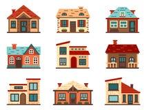 Abgetrenntes Vorstadthaus Lebende Häuser, Wohnungsdachgebäude und Hauptfassade vector flache Illustration lizenzfreie abbildung