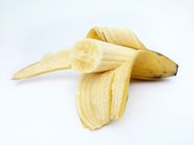 Abgezogene Banane mit dem Biss genommen von ihm Lizenzfreies Stockfoto