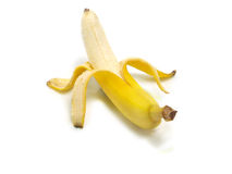 Abgezogene frische Banane Stockfoto