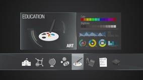 Abhängige Ikone der KUNST für Bildungsinhalt Digitalanzeigenanwendung Gesetzte Animation der Bildungsikone lizenzfreie abbildung