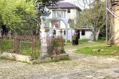 Abhazia Forntida tempel för territorium av Dormition av mest vår helgedom Royaltyfri Fotografi