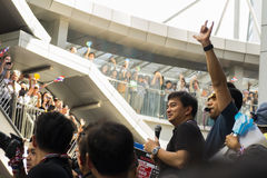 Abhisit Vejjajiva addressing the crowd. November 29th, 2013, Bangkok, Thailand. Anti-government protest gathers to march to Embassy of the United States to Stock Image
