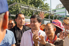 Abhisit Vejjajiva on mob activities during Bangkok Shutdown. Bangkok, Thailand - January 13 2014 : A shot of Abhisit Vejjajiva at BTS Skywalk at Victory Monument Royalty Free Stock Image