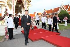 Abhisit Vejjajiva (27. Premierminister Thailands) nehmen an dem Begräbnis- Chumphon Sinlapa-a-cha teil Lizenzfreie Stockbilder