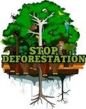 Abholzungsdschungel-Vektorillustration Vektor-Regenwald zerstört mit Tieren Lizenzfreies Stockfoto