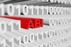 Abi. In a binary code with blurred background 3D illustration Royalty Free Stock Images