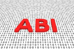 Abi. In a binary code 3D illustration Stock Photography