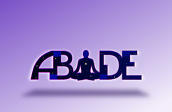 ABIDE Yoga Background. An abstract purple background with the word ABIDE using a meditating figure as the I. Abide means to remain in awareness a common concept Royalty Free Stock Photos