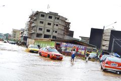 Abidjan floods / Emergency meeting at Cocody town hall yesterday: Mayor`s plea Royalty Free Stock Image