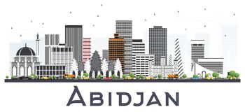 Abidjan Ivory Coast City Skyline with Gray Buildings Isolated on. White. Vector Illustration. Business Travel and Tourism Concept with Modern Architecture vector illustration