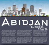 Abidjan Skyline with Gray Buildings, Blue Sky and Copy Space. Vector Illustration. Business Travel and Tourism Concept with Modern Architecture. Image for vector illustration