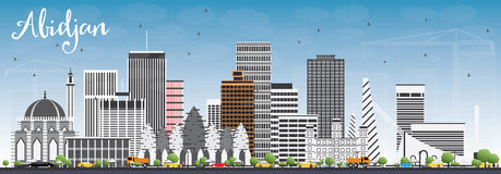 Abidjan Skyline with Gray Buildings and Blue Sky. Vector Illustration. Business Travel and Tourism Concept with Modern Architecture. Image for Presentation vector illustration