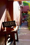 Abierto or open sign on shop in San Antonio de Areco, Argentina Royalty Free Stock Image