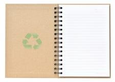 Abierto recicle el cuaderno Fotografía de archivo