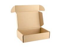 Abierto vacío de la caja del cartón aislado en el fondo blanco Imagen de archivo