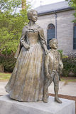 Abigail and John Quincy Adams. Statue of Abigail Adams and son John Quincy Adams, Quincy, MA, USA Stock Images