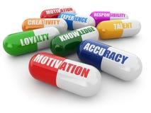 Abilità per successo. Pillole con una lista delle qualità positive per Immagini Stock