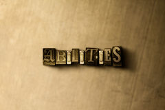 ABILITIES - close-up of grungy vintage typeset word on metal backdrop Stock Image