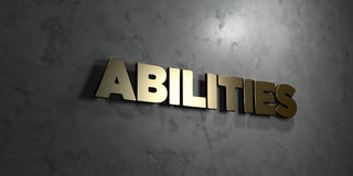 Abilities - Gold text on black background - 3D rendered royalty free stock picture. This image can be used for an online website banner ad or a print postcard Royalty Free Stock Photo