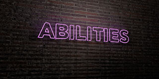 ABILITIES -Realistic Neon Sign on Brick Wall background - 3D rendered royalty free stock image. Can be used for online banner ads and direct mailers Stock Photo