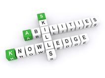 Abilities, skills and knowledge. Text 'abilities', 'skills' and 'knowledge' inscribed in uppercase letters on small cubes, white background Royalty Free Stock Image