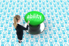 Ability against digitally generated green push button Stock Photo