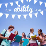 Ability against students standing and chatting together Stock Images