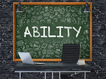 Ability on Chalkboard in the Office. 3D Rendering. Stock Photography