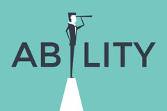 Ability concept vector illustration with business man looking through telescope from a cliff. Royalty Free Stock Image