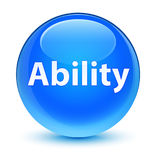 Ability glassy cyan blue round button Royalty Free Stock Images