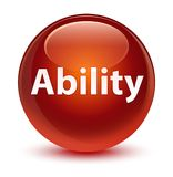 Ability glassy brown round button Stock Images