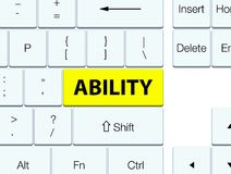 Ability yellow keyboard button. Ability isolated on yellow keyboard button abstract illustration stock illustration