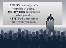Ability motivation attitude. Difference between ability, motivation and attitude royalty free illustration