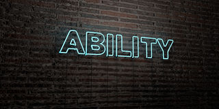 ABILITY -Realistic Neon Sign on Brick Wall background - 3D rendered royalty free stock image. Can be used for online banner ads and direct mailers Royalty Free Stock Image