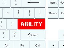 Ability red keyboard button. Ability isolated on red keyboard button abstract illustration Stock Illustration