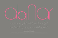 Abinar. Round style alphabet letters and numbers. vector, minimalistic font type design. contemporary, regular lettering. geometric, decorative typesetting Royalty Free Stock Photo