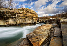 Abisko. Canyon in abisko sweden with a stream through Royalty Free Stock Photography