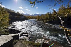 Abiskojokk Река в осени в национальном парке Abisko, Швеции стоковые изображения rf